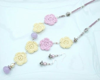 NEW IN - Pink, Purple and Lemon Crochet Flowers Abstract Pendant Necklace & Earrings SET