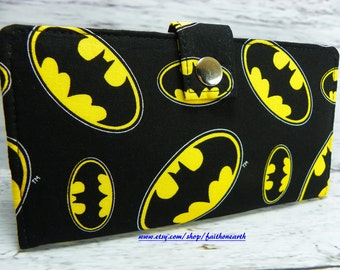 Bat Handmade Long fandom geek Wallet  BiFold Clutch - Vegan Wallet - Bat signal