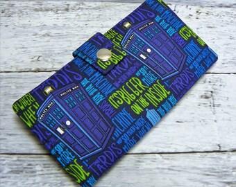 Handmade dr who Long fandom geek Wallet  BiFold Clutch - Vegan Wallet - Doctor Who tardis words - its bigger on the inside