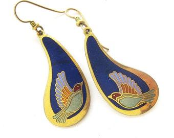 Vintage Laurel Burch Cloisonne Earrings with Birds in Lavender, Light Blue and Navy Dangling Earrings