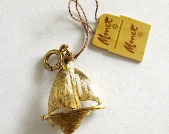 Vintage Monet Sailboat Charm / Gold Tone Sailboat Bracelet Charm with Original Tag