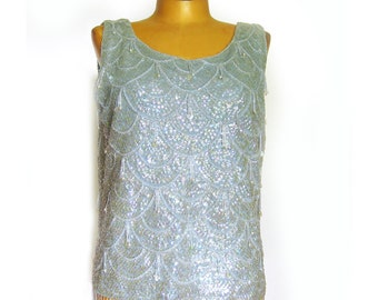 1950s Vintage Beaded Top - Ice Blue Wool with Iridescent Sequins - Sleeveless Holiday Blouse - Evening Wear 36 Bust