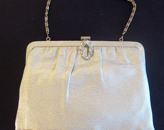 1950s 1960s Sparkly Silver Lame Clutch with Chain Handle Evening Bag - Glittery Glamour Handbag