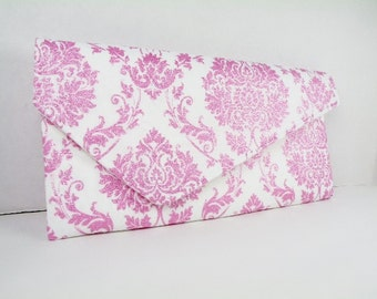 Pink White Metallic Glitter Asymmetrial Envelope Clutch Weddings Bride Bridesmaid DAMASK  Limited Edition