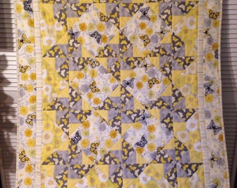 Yellow & Grey Butterfly Baby crib or lap quilt