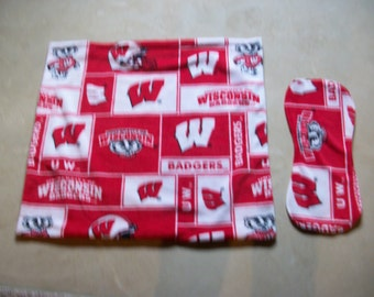 Baby's First  Blanket  Wisconsin Badgers Block with Matching Burp Cloth