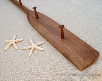 """59"""" 5Peg Stained Oar Coat Hat Rack in stain colors of Browns and Grays / Nautical Nursery Decor / Beach Decor / Cabin / Canoe Paddle"""