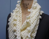 Crochet Infinity Scarf Fancy Bobble Edge Soft White