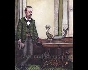 The Feejee Mermaid, Original Painting, Cryptozoology, Sideshow, Taxidermy, Oddity, Cryptid, Sea Monster, Surreal, 19th Century, Circus,