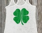 St. Patrick's Day Shamrock Womens Workout Tank Top. Irish Clover. Exercise Tank. Running Tank. Fitness shirt. Burnout Workout Tank. Marathon