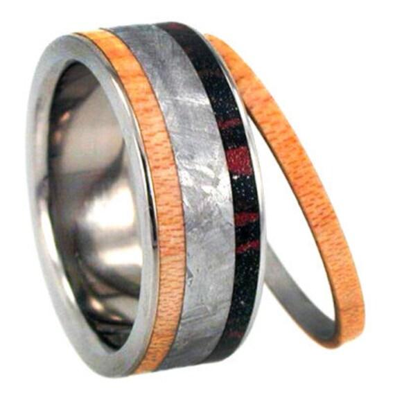 Mens Meteorite Wedding Band With Maplewood, Interchangeable Wood Ring, Mokume Gane Ring