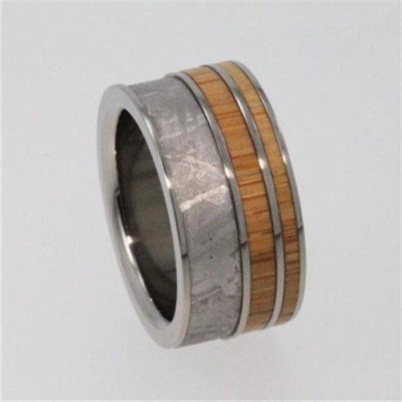 Interchangeable Wood Ring, Meteorite Wedding Band With Bamboo, Adjustable Titanium Wedding Band