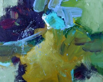 """MODERN ABSTRACT PAINTING Original Art """"Viven"""" Acrylic on 8"""" x 8"""" canvas Expressionistic Painting by Elizabeth Chapman"""