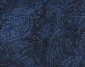 NEW - One fat quarter - Dark Blue Paisley Batik - 111505039-MO