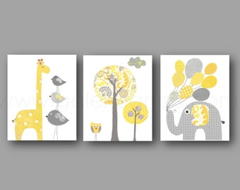 Nursery Art, Yellow and gray Kids Room Decor elephant balloon giraffe bird Tree Home Decor Baby wall art - Set of three prints