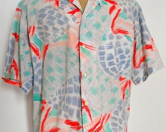 Vintage Painterly Men's Shirt from the 1980's Saint Tropez