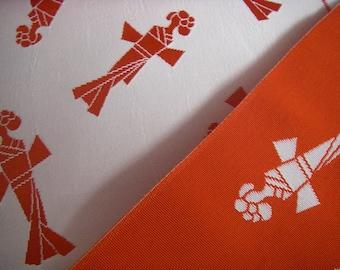 Vintage silk Japanese kimono obi fabric (doll) reversible