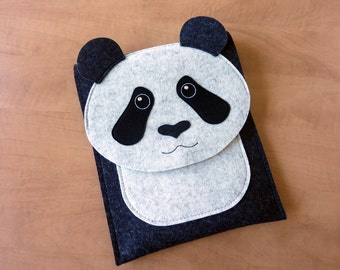 Panda iPad Air 1/2 and iPad 2/3/4 case // Animal felt sleeve or purse