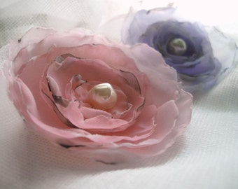 Pink Rose Delicate Singed Flower Accessory Hair Wedding Sash Pin Choose According To Your Need Handmade Large Three Inch Flower handcraftusa