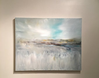 Abstract Painting- White Marsh- Original Oil Painting- 24 x 30 Gray and White- Thick 1-1/2 painted Edge- Ready to Hang Gold Blue Gray