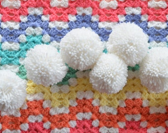 Extra Large White Yarn Pom Pom Garland: The Snowball - Christmas, Winter, Party, Home Decor!