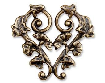 Morning Glory Heart Pendant Brass Vintage Bronze Hand Patina {1pc} F828VBZ