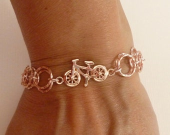 Bicycle Bracelet, Rose Gold Color Bicycle Chain Maille Charm Bracelet, Chainmaille Bracelet, Chainmaille Jewelry - Bicycle Jewelry