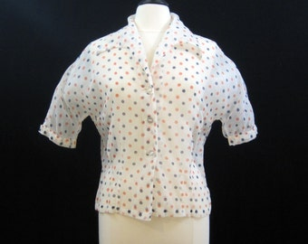Vintage 50s Blouse White Nylon Sheer Polka Dot top shirt L