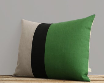 Natural Linen Colorblock Pillow Cover (16x20) with Meadow Green and Black Stripes by JillianReneDecor, Modern Fall Home Decor, Striped Trio