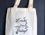 Count Your Blessings Cotton Tote Bag Wine Carrier Hostess Gift