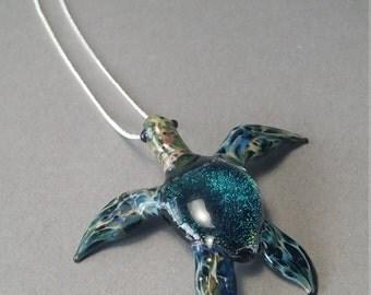 Emerald Blue Sea Turtle Pendant Necklace