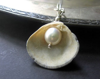 Shell Necklace, Seashell Pearl Necklace, OOAK, June Birthstone