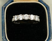 Vintage Sterling Silver 5 Stone Ring Diamonique Ring Diamond Quality Stack Ring Cubic Zirconia Five Stones Anniversary Ring US 8.5 UK R