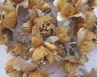 18 pc GOLD Wired Satin Organza Pearl Rose Flower Applique Bridal Wedding Bouquet