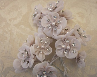 18 pc Hand Dyed Antique TAN Wired Organza Rhinestone Pearl Beaded Flower Applique Bridal Wedding Bouquet