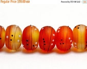 ON SALE 35% OFF New! Eight End of Summer Party Rondelle Beads 10707041 - Handmade Glass Lampwork Bead Set