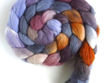 Blueface Leicester/ Tussah Silk Roving (Top) - Handpainted Spinning or Felting Fiber, Lingering Light