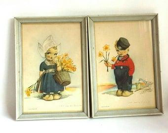 Vintage Volendam Dutch Kids Framed Prints