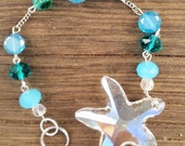 Crystal Starfish Suncatcher, Sun Catcher, Beach Suncatcher, Aqua and Teal Sun Catcher
