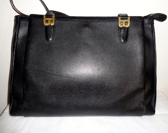 Bally Italian leather top zip  x large tote, briefcase ,handbag,  purse,court bag , black   vintage 90s