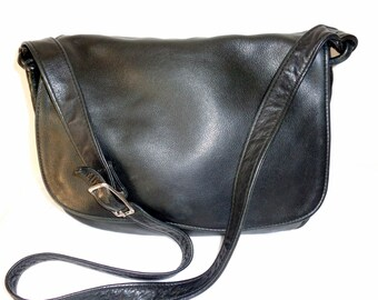 Victoria Leather Co  USA flap top purse , satchel, cross body bag black genuine leather unique vintage pristine condition