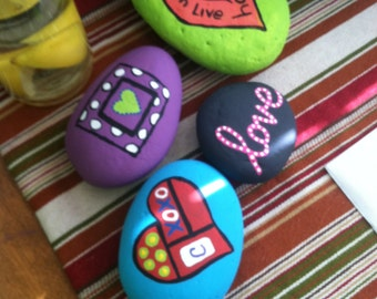 Hand painted river rocks