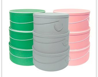"""Your Choice ~ XLarge ~ 18""""-19""""-20"""" x 9"""" Deep ~ Millinery HAT BOX ~ HATBOXES ~ Stack of 3 ~ Taupe ~ Rose or Kelly"""