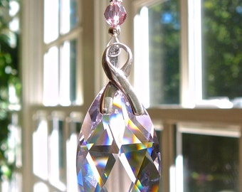 Breast Cancer Awareness Swarovski Crystal Car Charm, Prism, Rainbow Maker for Car or Home - Heartstrings by Morgan