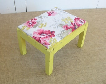 Vintage Yellow Floral Stool Bench Wood Upholstered Pink Shabby Cottage Chic