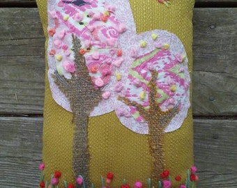 SALE Pink Lollipop Trees and Bluebird Hand Embroidered and Applique Pillow Ready To Ship