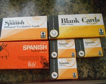 Vintage 6 Boxes of Spanish Teaching Cards for Children or Adults Verbs Grammar Conversation Vocabulary Bilingual Vocabulary