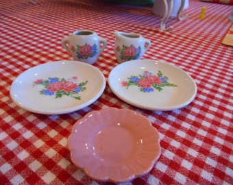Set of 5 Vintage porcelain childs play dishes tea party time