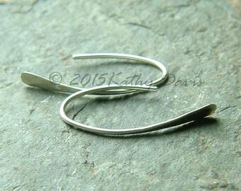 Simple Earrings, Small Wishbone Earring Silver Hoops, Open Hoop Earring, minimalist eco friendly jewelry gift for women