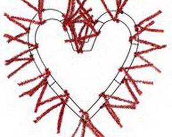 Red Heart Shape  Work Wreath